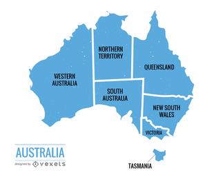 Vetor de mapa político de Austrália