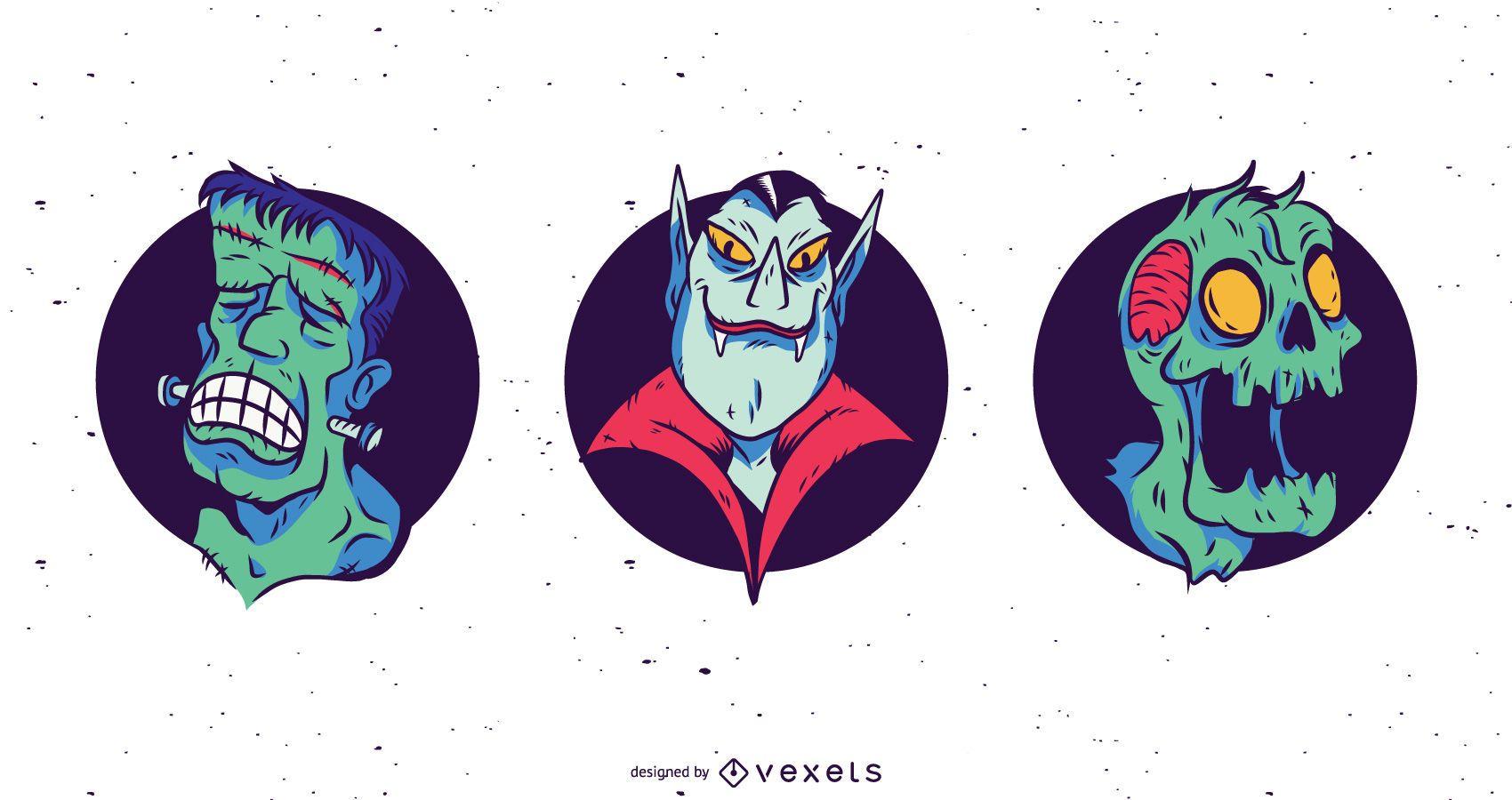 Spooky monster faces illustration