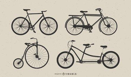 Conjunto de arte vetorial de bicicleta vintage