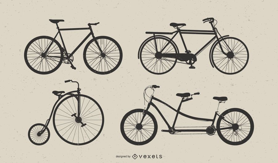 Vintage Bicycle Vector Art Set