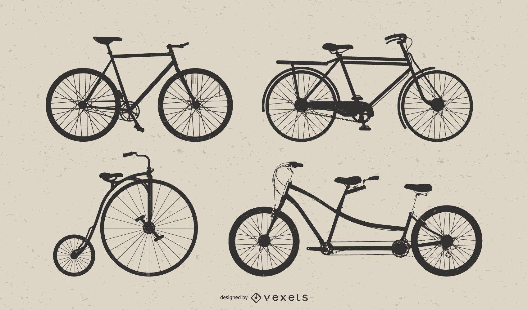 Vintage Bicycle Vector Art Set