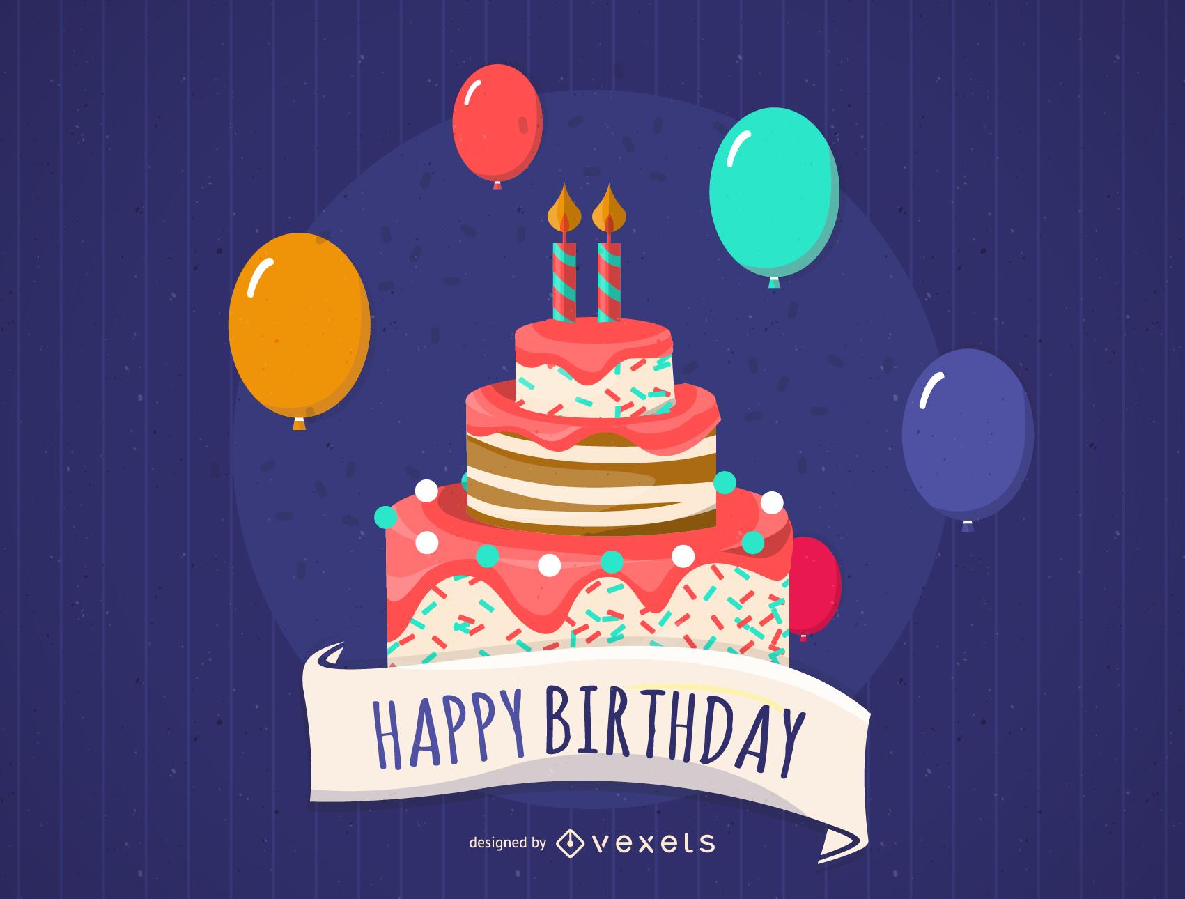 Feliz cumpleaños con globos y pastel