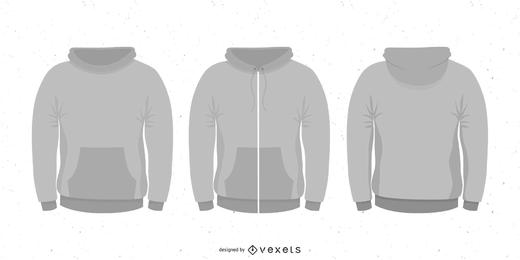 Conjunto en blanco con capucha de vector