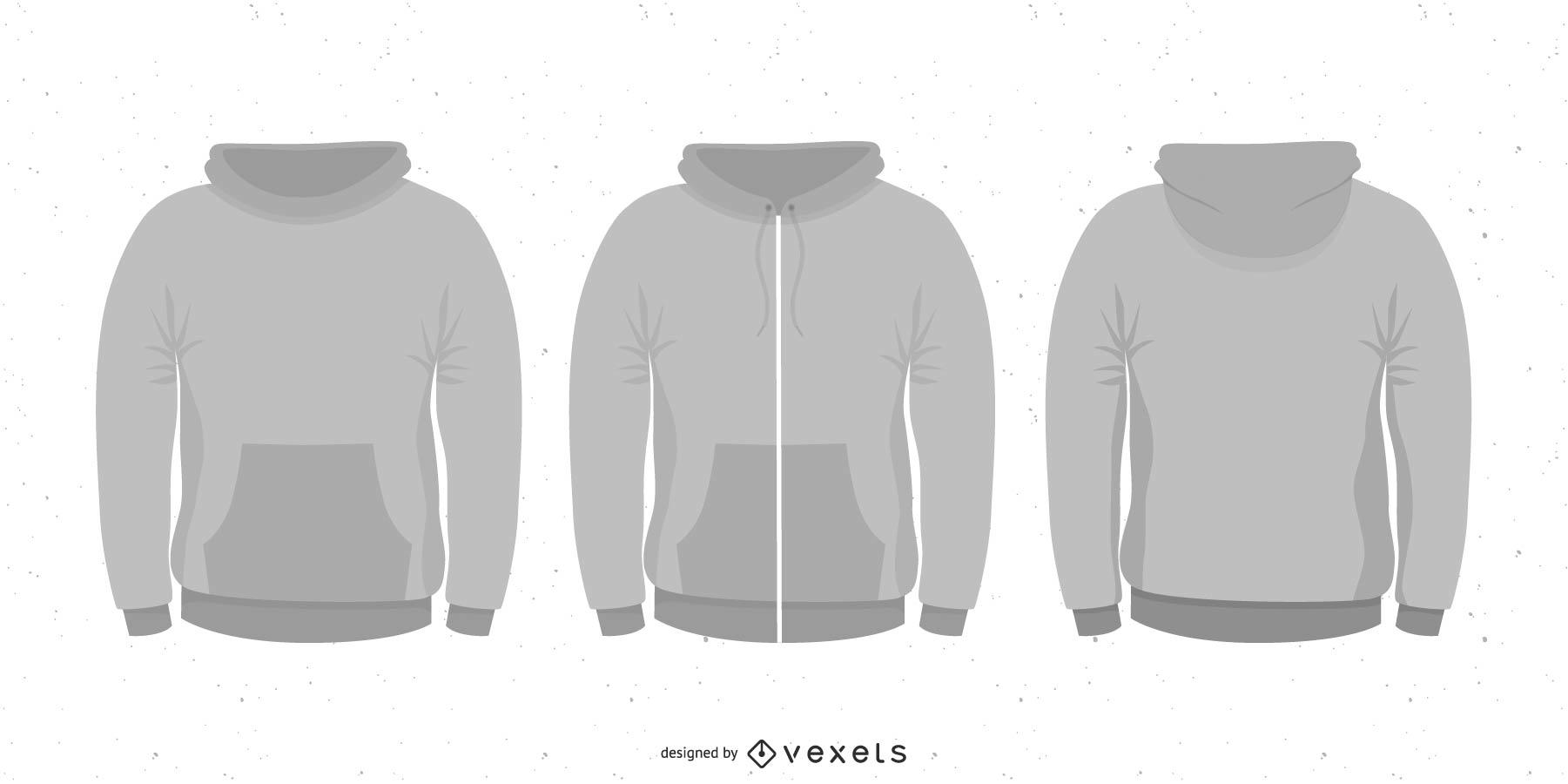 Vector conjunto en blanco con capucha