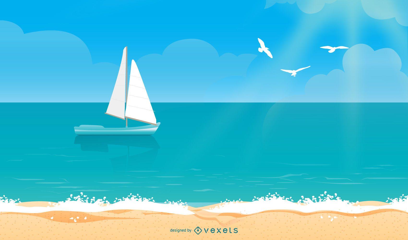 Beach Sea Summer Vector Illustration
