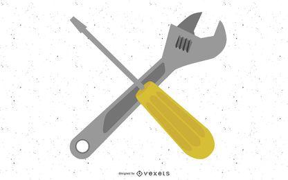Vector cruzado llave y destornillador