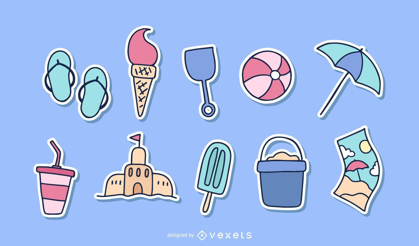 Lovely Seaside Stickers 04 Vector