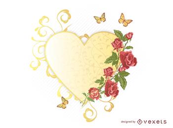 Vetor de borboleta requintado rosas