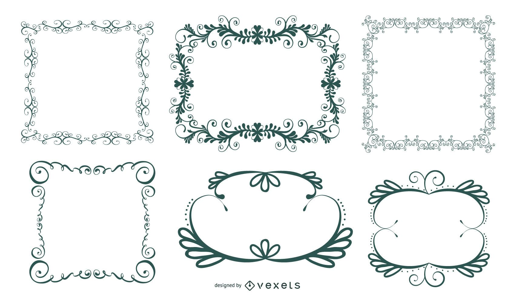 Ornamental Floral and Swirly Frame Set
