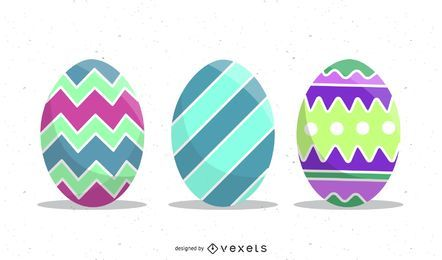 Conjunto de huevos de Pascua ilustración vectorial