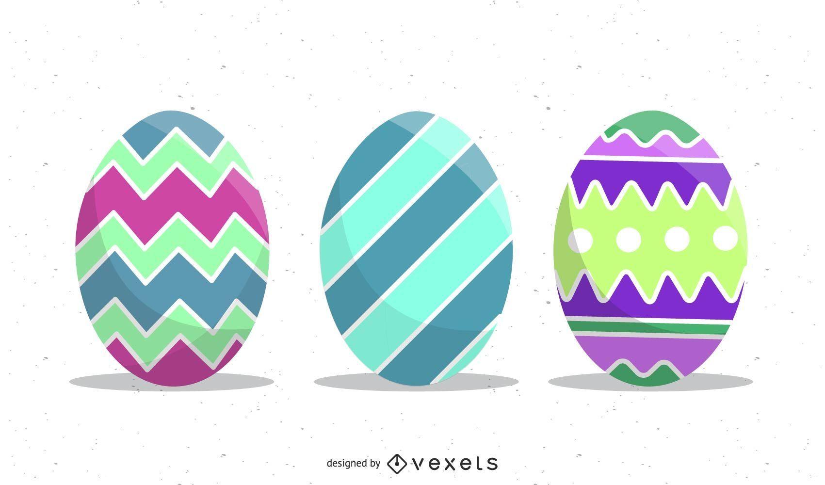 conjunto de ilustración de huevos de pascua