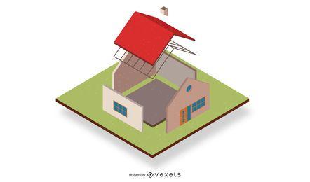 Casa tridimensional aislada