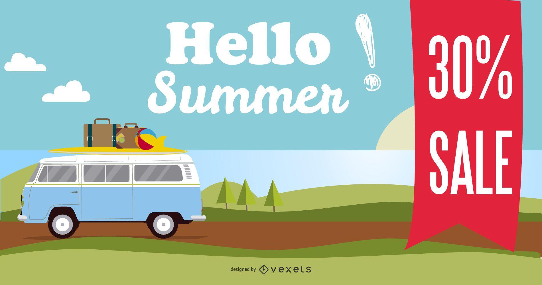 Vector de cartel de promoción de venta de verano