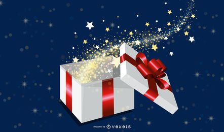 Magic Gift Box Vector Illustration