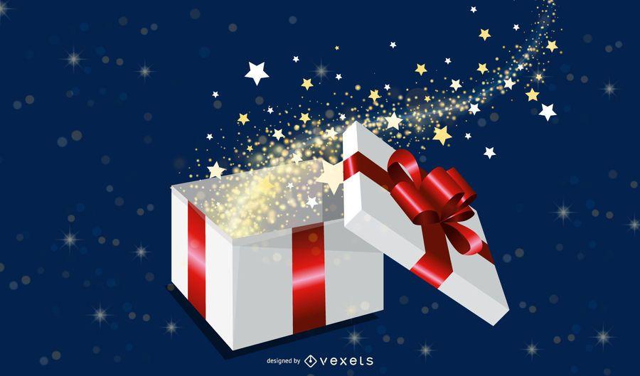 Caja de regalo mágica ilustración vectorial