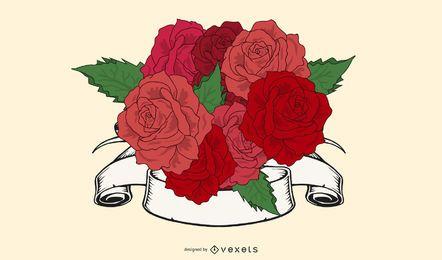 Rosen-Blumenstrauß 03 Vektor