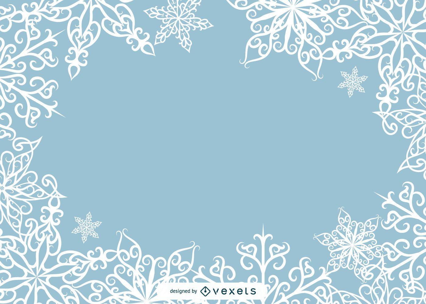 Vector hermoso del marco de la foto del copo de nieve