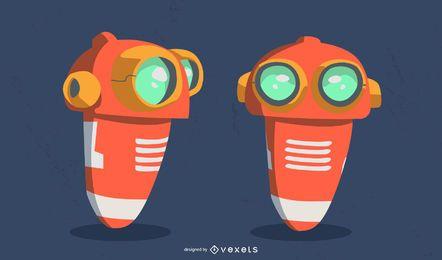 desenho de ilustração de robô laranja fofo