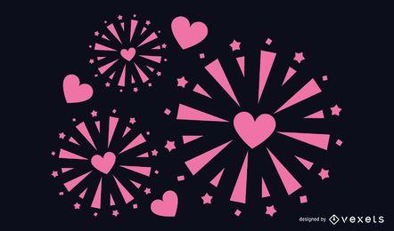 Diseño de fuegos artificiales en forma de corazón
