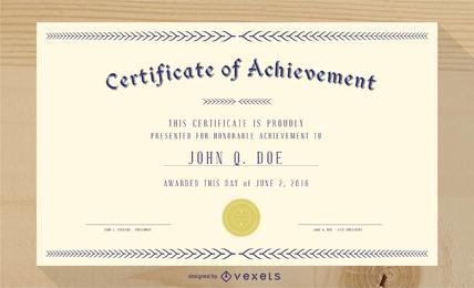 Precioso Diploma Certificado Plantilla 03 Vector