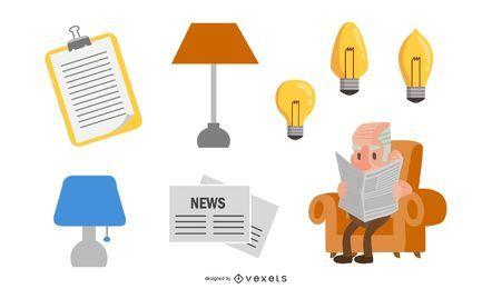 Vetor de jornal de lâmpada