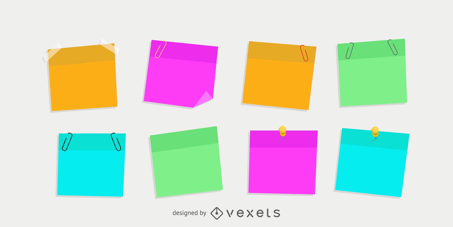 Isolated colorful post it set