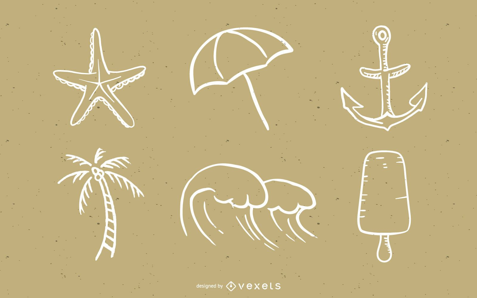 Handdrawn Style Summer Style Elements Vector