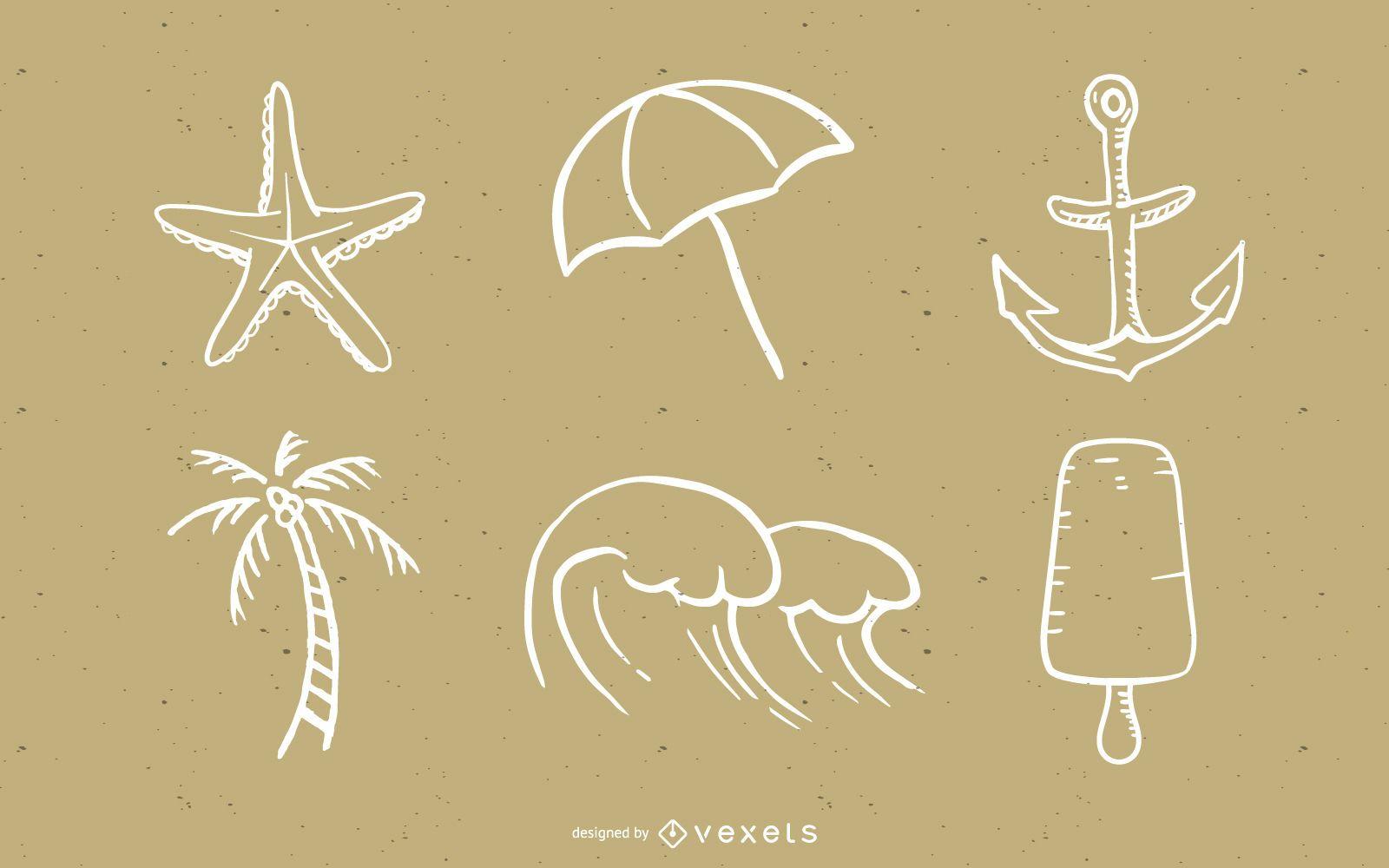 Vector de elementos de estilo de verano de estilo handdrawn