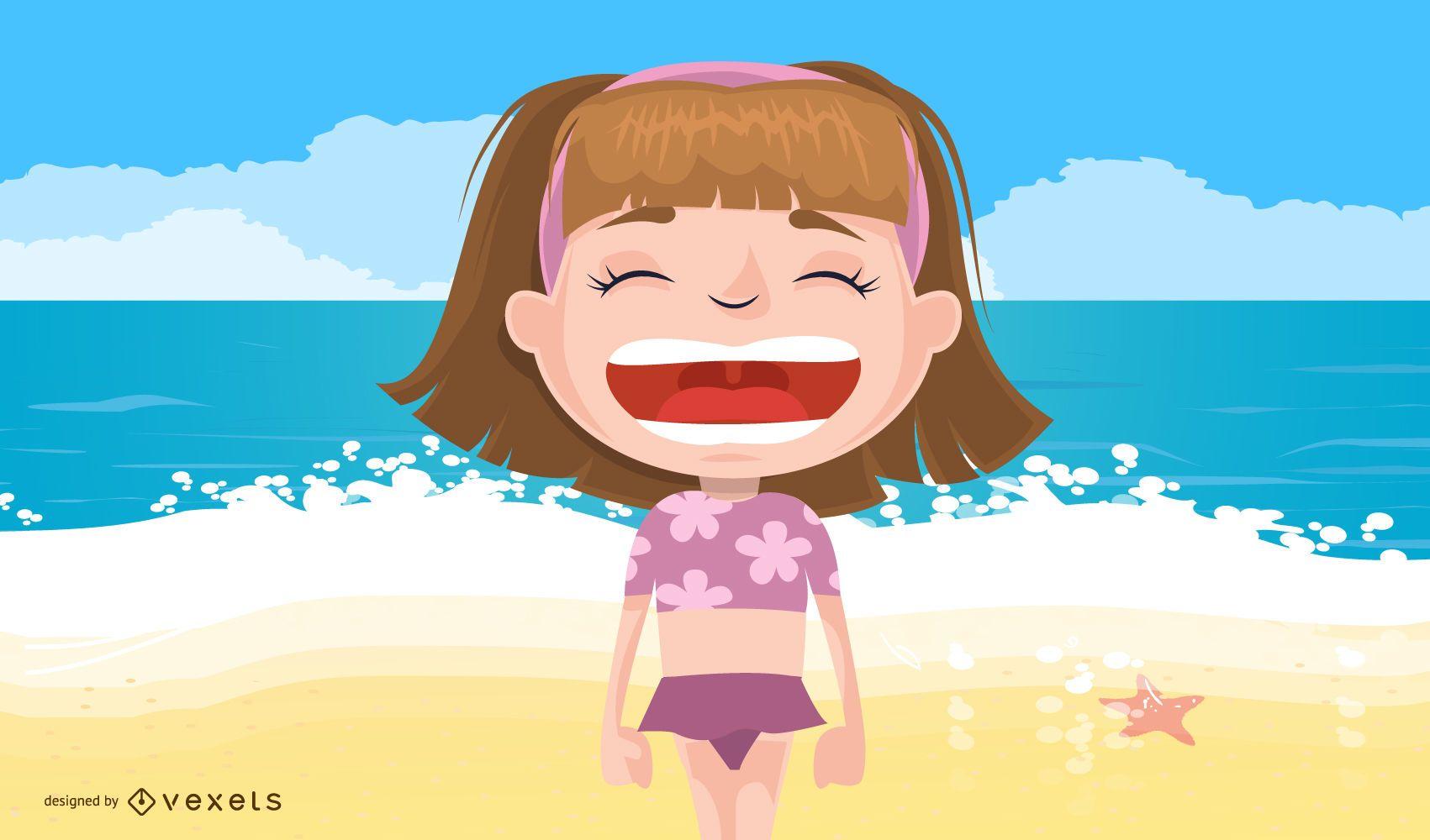 Ilustración de vector de verano de niños