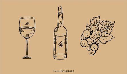 Conjunto de elementos de vino dibujados a mano