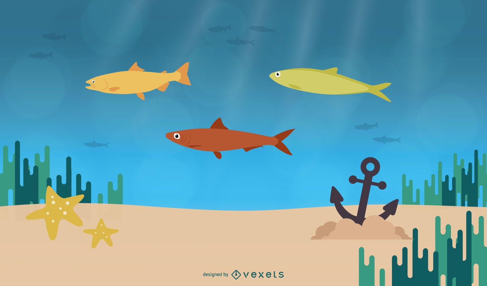 diseño de ilustración de vida marina
