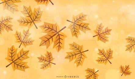 Fundo de folhas de outono dourado