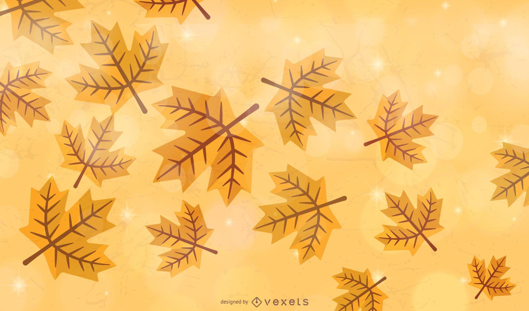 Golden autumn leaves background