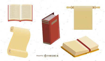 Papel de embalagem e livros velhos do vetor
