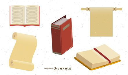 Vector libros y papel Kraft antiguo
