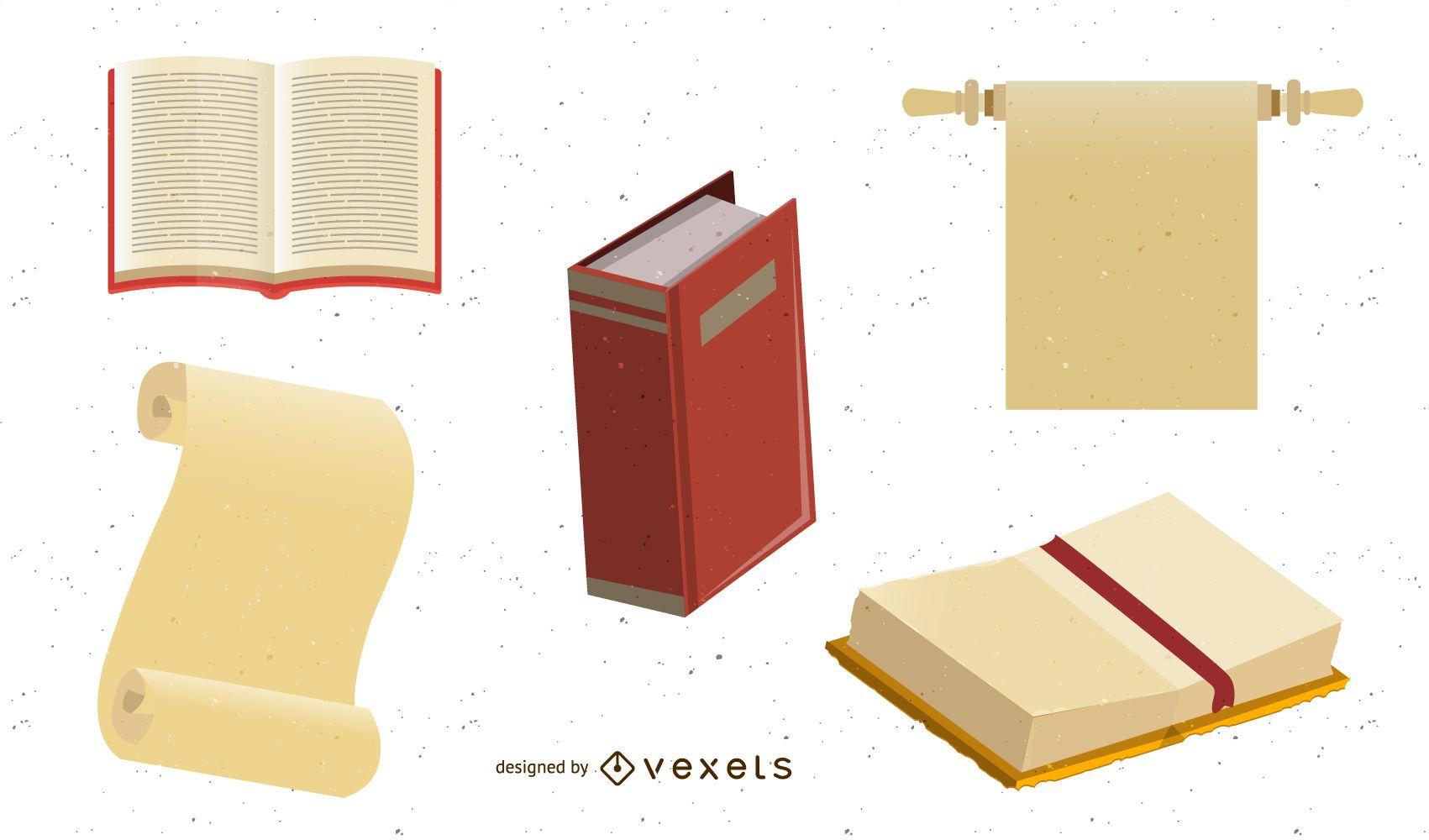 Livros e papel kraft antigo de vetor