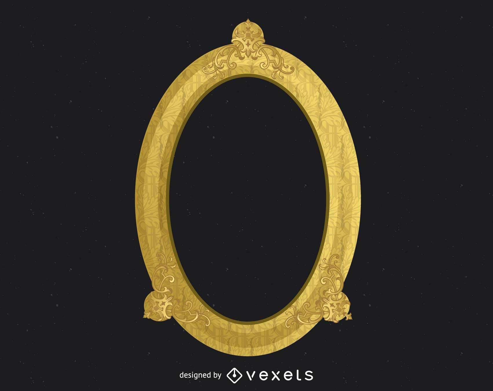 Marco dorado ornamentado antiguo