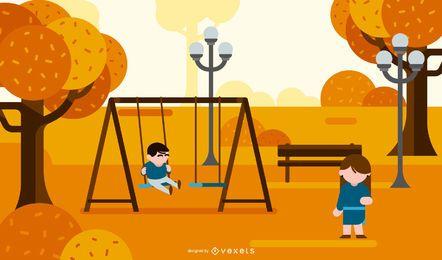 ilustración infantil del parque de otoño