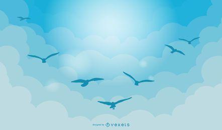 Vetor de paisagem grande céu azul de gansos selvagens