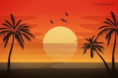 Praia da noite do vetor