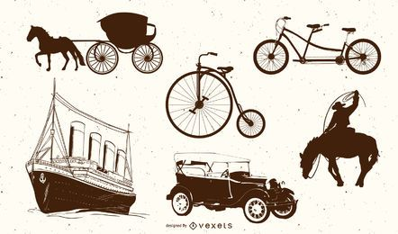 Europeanstyle Handdrawn Transport Carrier 03 Vector