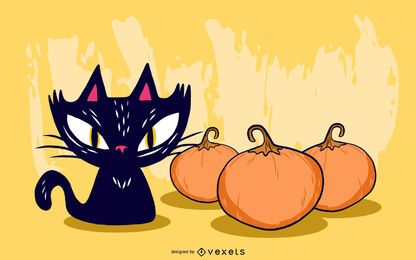 Vector abóbora de halloween aranha gato preto