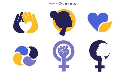 Conjunto de iconos femeninos simples