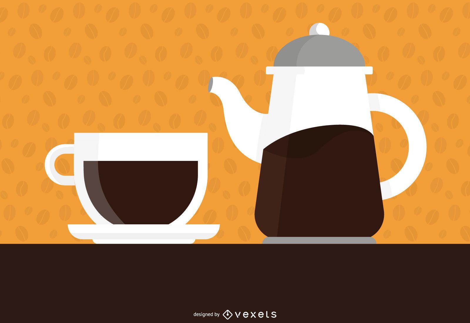 Taza de diseño de ilustración de café