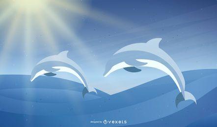 Vector de delfines felices