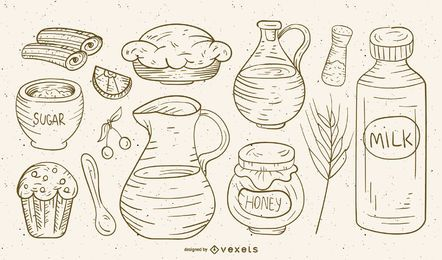 Hand drawn food and ingredients set