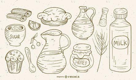 Hand drawn food and ingredients set