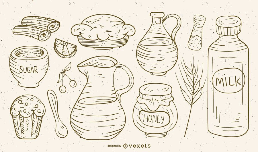 Características del vector Dieta pintada a mano