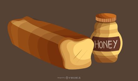 Vector Honey Bread
