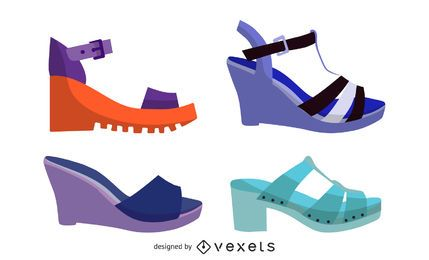 Summer Sandals illustration set
